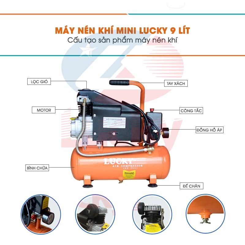 cấu tạo máy nén khí Lucky 9l