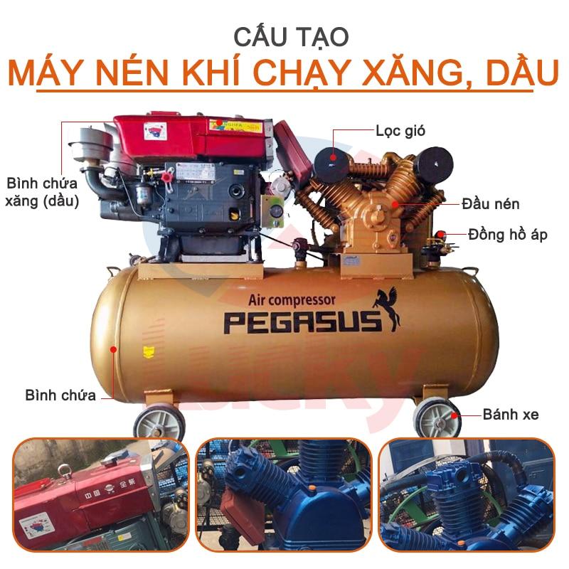 Cấu tạo máy nén khí chạy xăng dầu