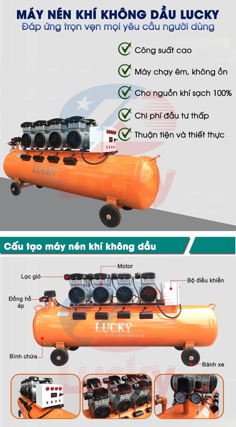 máy nén khí không dầu lucky